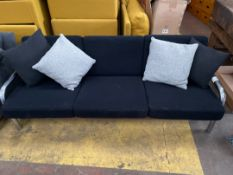 Black 3 Seater Metal Framed Sofa