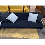 Black 3 Seater Metal Framed Sofa