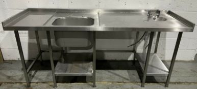 Stainless steel single bowl sink with handwash and