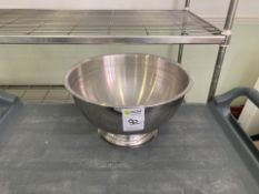 a collection of kitchen pots and sieves