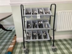 Cutlery trolley and contents