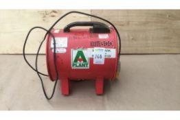 Job lot fan heaters, fume extractor, back pack vacuum