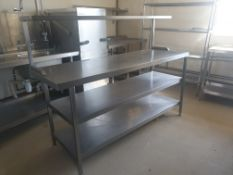 Stainless steel bench and shelve