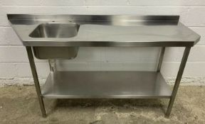 Stainless steel single bowl sink & preparation table