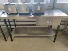 Stainless steel prep area with drawer