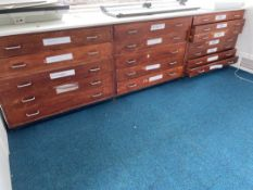Multi Draw Wooden Drawing Cupboards x 3
