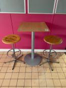 Pedestal Table & 2 Bar Stools