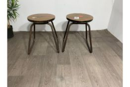 Industrial Style Wooden Stool with Steel Legs x2