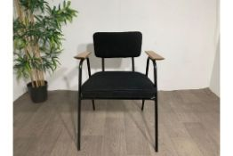 Black Commercial Grade Chair with Wooden Arm Rest x2