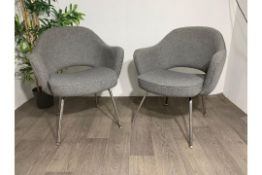 Grey Fabric Commercial Grade Chair with Chrome Leg