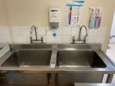 Stainless Steel Corner Double Bowl Sink Unit