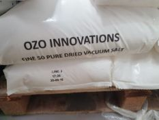 Forty 25 kg plastic bags of Ozo Branded 50 pure dried vacuum salt