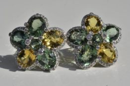 Diamond Citrine and Aventurine Earrings 18k