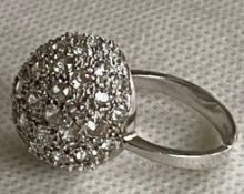 Large Sterling Silver Crystal Ball Domb Ring