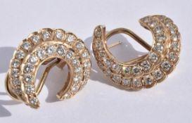Diamond Crescent Earrings 14k