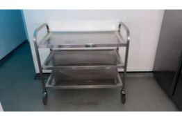 Stainless steel three tier kitchen trolley