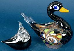 """""""Huhn & Ente"""" - zwei Glastiere, aus der 2. Hälfte des 20. Jhds., Huhn ca. 12,5"""