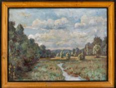 """""""Landschaft mit Bachlauf"""" - Gemälde, Öl auf Platte, ca. 31 x 41 cm, unten links"""