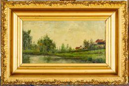 """""""Idyllisches kleines Dorf mit Weiher""""- Laienmalerei um 1900, Öl auf Karton, ca."""