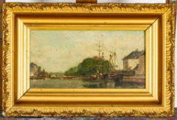 """""""Kleine Flusslandschaft mit Transparentsegler. Gekonnte Malerei, Öl auf Leinwan"""