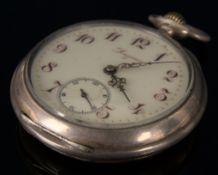 Antike offene LONGINES Herrentaschenuhr um 1890, vergoldetes Uhrwerk läuft an,