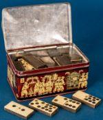 Antike DOMINO-SPIELSTEINE, ca. 43 Stück, verschiedener, bespielter Erhalt.