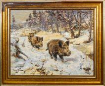 """""""Wildschweine im Schnee"""", Gemälde, Öl auf Leinwand, ca. 60 x 75 cm, signiert Wi"""