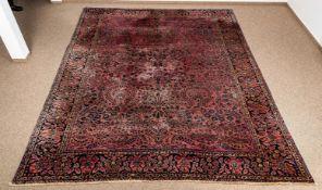 """Antiker SAROUGH-Teppich, sog. """"amerikanischer Sarough"""", ca. 266 x 348 cm, stärk"""