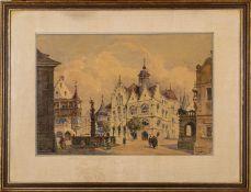 """""""Sommerliche Altstadtszenerie"""", Aquarell, ca. 27 x 39 cm, unten rechts monogram"""