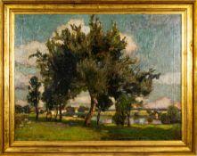 """""""Sommerliche Flusslandschaft am Dorfrand"""" - Gemälde, Öl auf Leinwand, ca. 77 x"""