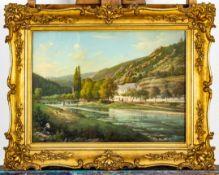 """""""Sommerliche Flusslandschaft im Elbsandsteingebirge"""" - detailreiches Pastell, c"""