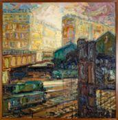 """""""Bahnhof vor städtischer Kulisse"""" , quadratisches Gemälde, Öl auf Leinwand, ca."""