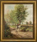 """Der Ausritt"" - Gemälde, Öl auf Leinwand, ca. 80 x 70 cm, unten rechts signiert"