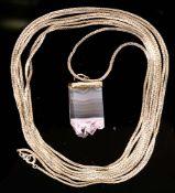 Lange 835er Silberkette mit Rosenquarz-Anhänger, Ketten- Länge ca. 200 cm, Anhä