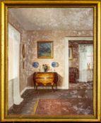 """""""Interieur mit Louis XV Kommode"""", Gemälde, Mitte 20. Jhd., Öl auf Leinwand, ca."""