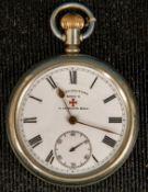 Offene britische Herrentaschenuhr, weißes Emaille- Ziffernblatt mit römischen Z