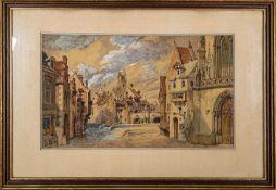 """""""Sommerliche Altstadtszenerie"""", Aquarell, ca. 22 x 37 cm, unten links monogramm"""