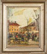 """""""Marktszene"""", Gemälde, Öl auf Leinwand auf Platte gezogen, ca. 25 x 17 cm. Himm"""