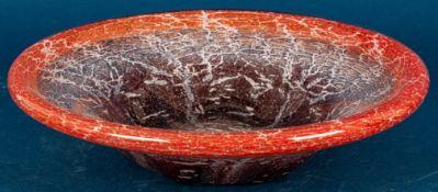 Große Obstschale, dickwandiges WMF-IKORA Schlierenglas, rötlich-weiße Farbgebun