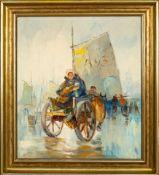 """""""Pferdefuhrwerk"""" - Gemälde, Öl auf Leinwand, ca. 80 x 70 cm, unleserlich signie"""