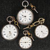 4teiliges Konvolut alter und antiker offener Herrentaschenuhren, 19. und 20. Jh