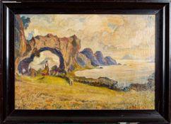 """""""Spazierendes Mädchen an der norwegischen Küste"""" - Gemälde, Öl auf Leinwand, ca"""
