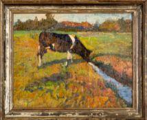 """""""Ihren Durst stillende Kuh"""" - Gemälde der 1920er/30er Jahre. Ca. 33 x 40 cm, Öl"""