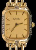 """Elegante Damen - Armbanduhr der Marke """"RIVADO"""", Gehäuse und Band aus 585er Gelb"""