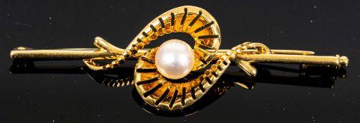 750er Gelbgold - Stabbrosche mittig mit gr. Perle besetzt, Länge ca. 6,2 cm, ca