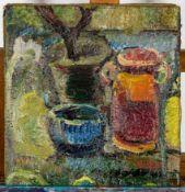 """""""Stilleben mit braunem Krug"""", um 1900/20, Gemälde, Öl auf Leinwand, ca. 40 x 38"""