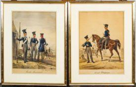 """Paar aquarellierter Zeichnungen: """"Land Dragoner"""" & """"Garde Regiment S. M. König"""