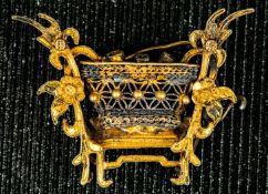 Asiatisches Schmuckobjekt, Metall vergoldet, wohl 1. Drittel 20. Jhd., ca. 3 x