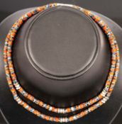 2 Halsketten aus Koralle & Schneeflocken-Obsidan mit 925er Sterlingsilber-Besch