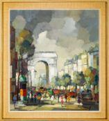 """Les Champs Elysees"" - Gemälde, Öl auf Leinwand, 1960er/70er Jahre, unten recht"